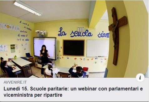 """COMUNICATO STAMPA  GIA' OLTRE 1300 ISCRITTI AL WEB PRESSING DI LUNEDì 15.6.2020  PER LA SOPRAVVIVENZA DELLE PARITARIE E DEL PLURALISMO SCOLASTICO  A causa della crisi indotta dalla pandemia, il 30% di scuole paritarie potrebbe non riaprire a settembre.  Le scuole paritarie sono l'ultimo baluardo del pluralismo scolastico italiano.  Sono una ricchezza vera di vivaci e belle esperienze educative per i giovani.  Sono un risparmio enorme per lo Stato.  Perché, allora, lo stesso Stato non ne difende almeno la sopravvivenza in questo gravissimo momento storico, in cui con il c.d. """"Decreto Rilancio"""" la Repubblica dichiara di voler sostenere tutti i soggetti penalizzati dalla crisi in corso?  Decine e decine di associazioni no profit, laiche e cattoliche,si sono mobilitate per questo specifico scopo.  In particolare, hanno convocato attorno alla richiesta di un impegno alto e libero da condizionamenti di schieramento tutti i gruppi parlamentari, che alla Camera stanno per convertire in legge proprio quel """"decreto"""" intitolato -come detto- a un """"rilancio"""", che, se non sarà per tutti diventerà, paradossalmente, una inaccettabile discriminazione, condannando alla sparizione """"pezzi"""" di vita del Paese.  La risposta dei leader e dei gruppi parlamentari é stata straordinaria.  La risposta all'appuntamento web ancora di più. A due giorni dall'evento si contano oltre 1300 """"complicate"""" iscrizioni all'incontro su zoom. Il web-pressing pro paritarie si candida così a essere uno degli incontri sulle piattaforme interattive web più partecipati di questo periodo, a dimostrazione che in Italia esiste ancora un """"popolo"""" che ama la più grande ed essenziale libertà per ogni uomo e per una democrazia: la libertà di educare!  Rinasce lo spazio della speranza: lunedì 15 giugno dalle 12:45 sulla piattaforma zoom il noto giornalista Giancarlo Loquenzi modererà l'incontro """"PIU' PARITA' PER LE PARITARIE, PIU' LIBERTA' PER TUTTI"""" e chiederà un preciso impegno per le scuole paritarie nei prossimi decis"""